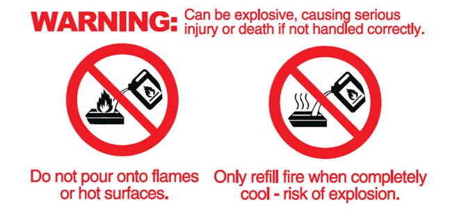 do not pour into a hot burner or flames